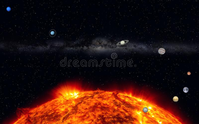 Our Solar System with milky way royalty free illustration
