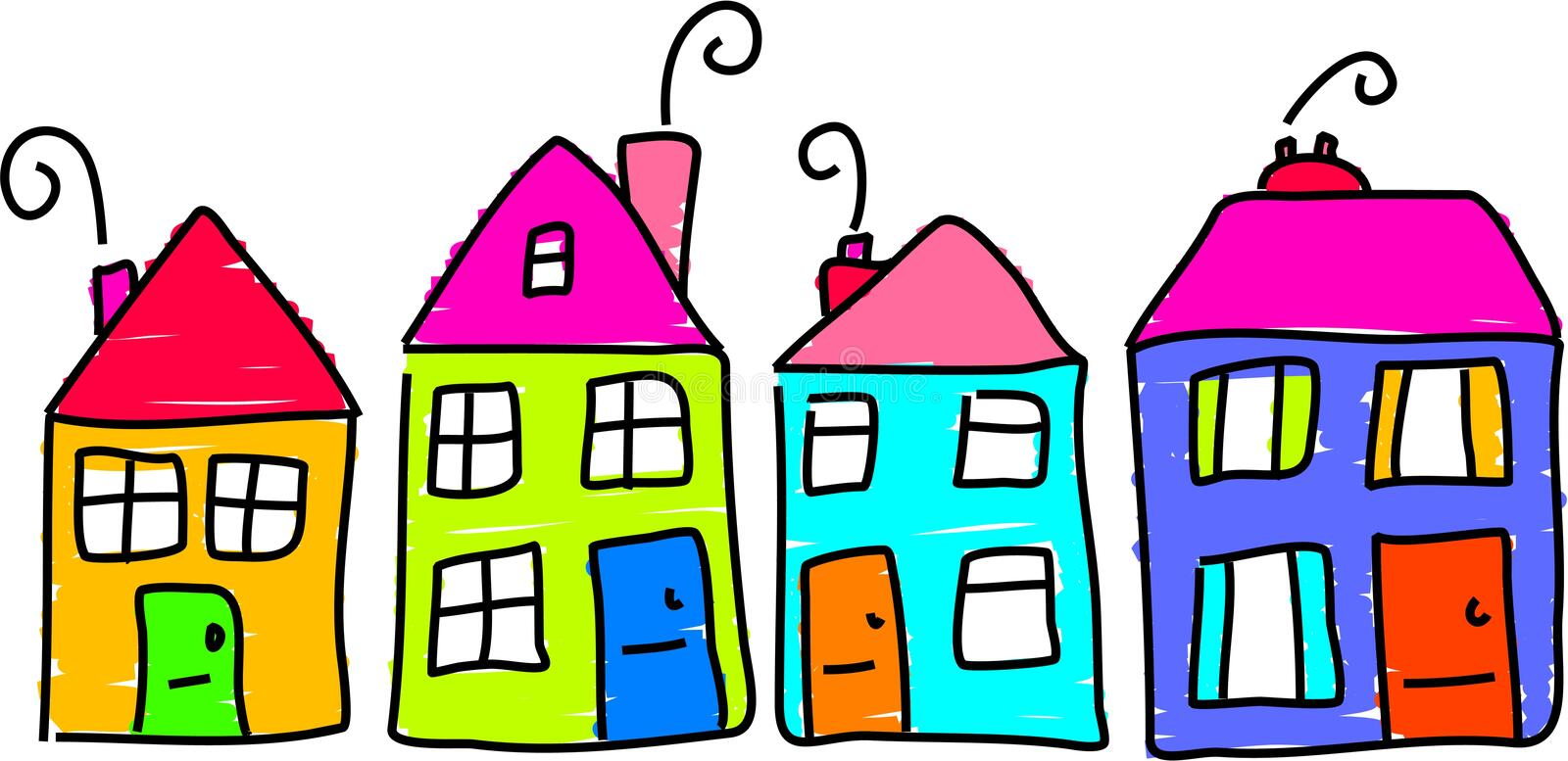 Our street. Row of houses in toddler drawing style