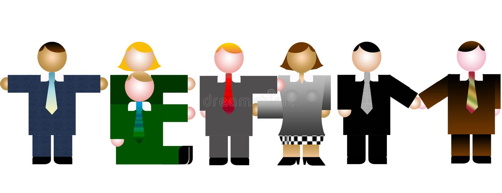Our team. Simple business people icon style create the word team on white isolated back.Easy to use