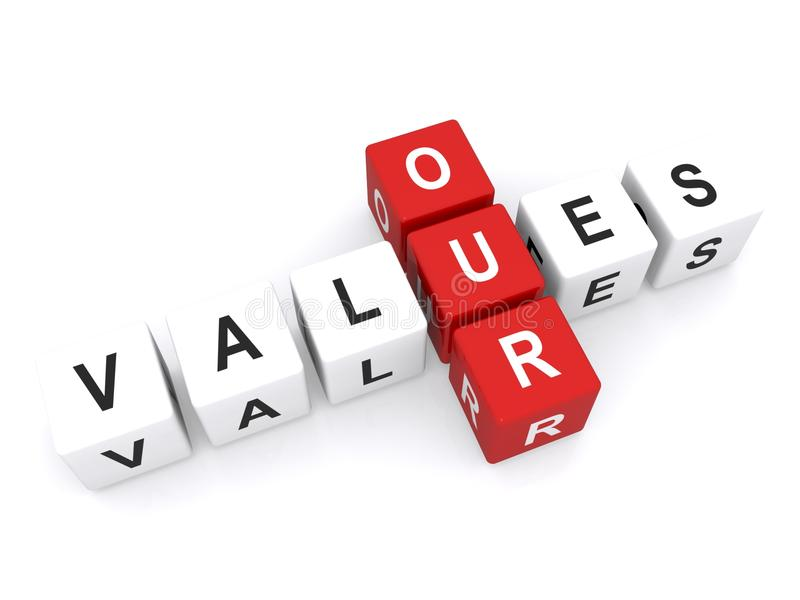 Our values. Text 'our values' uppercase letters inscribed on small cubes and arranged crossword fashion with common letter 'u', white background stock image