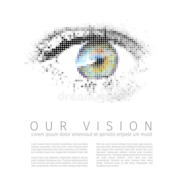 Our vision template. Vector template for Our vision manifesto with digital human eye royalty free illustration