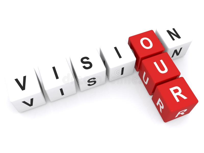 Our vision. Text 'our vision' in uppercase letters inscribed on small cubes and arranged crossword fashion with common letter 'o', white background royalty free stock photos