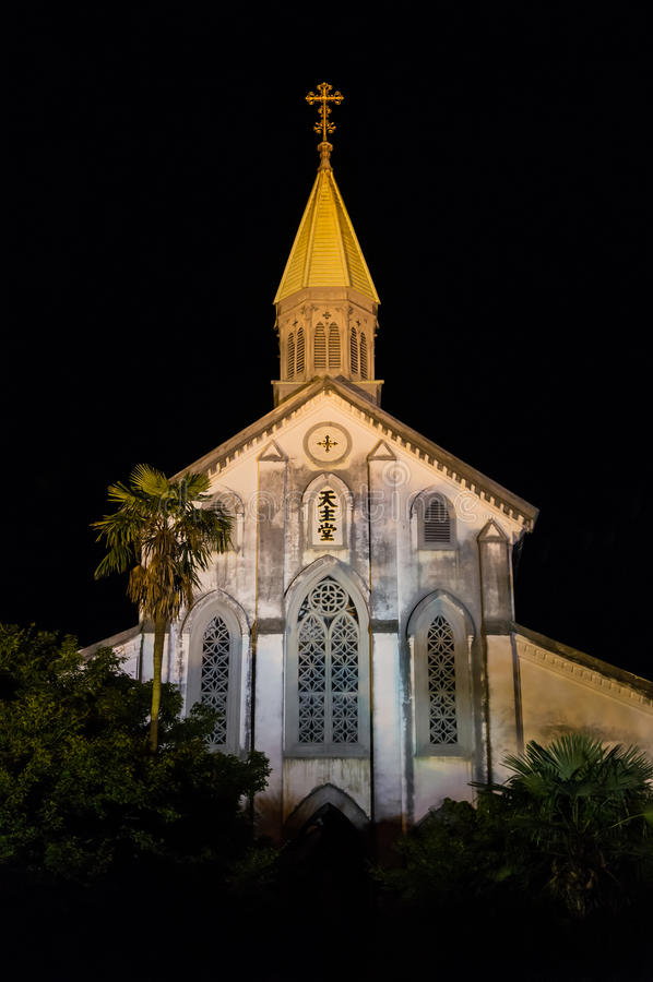 Oura Church, Nagasaki Japan. Night view of Oura Church in Nagasaki, Japan. It's one of the Churches and Christian Sites in Nagasaki, a group of thirteen sites in stock photos