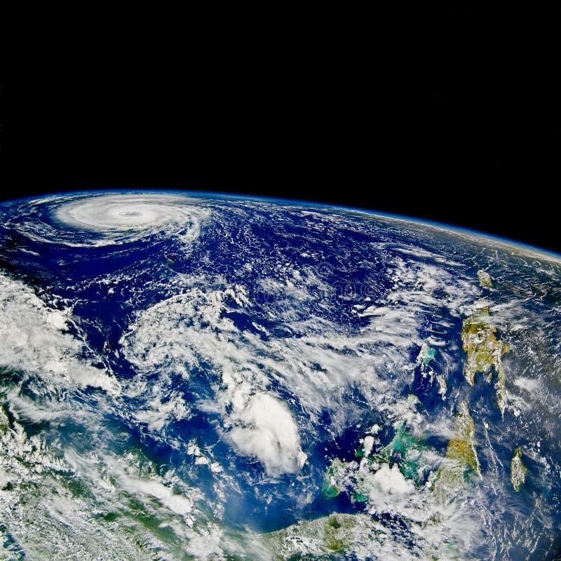 Ouragan au-dessus d'Atlantique nord image stock