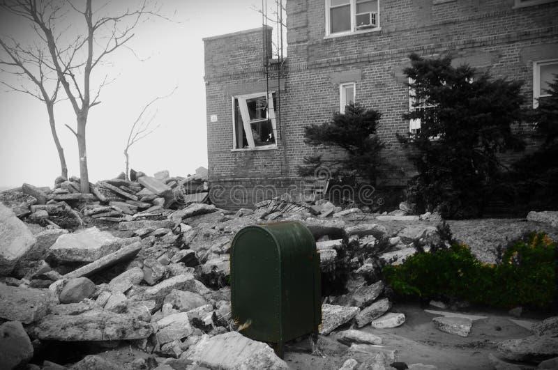 Ouragan de plage de débris d'île de lapin de New York arénacé images libres de droits