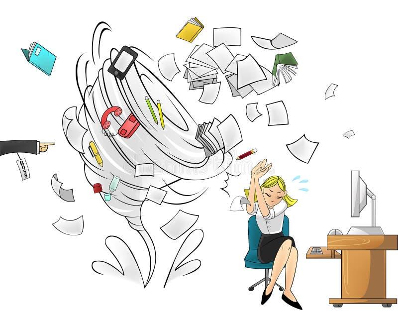 Ouragan du travail - version de femme avec l'ordre de patron illustration libre de droits
