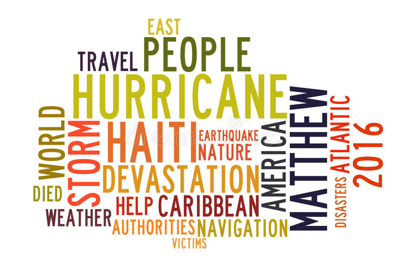 Ouragan Matthew en nuage de tags de mot illustration stock