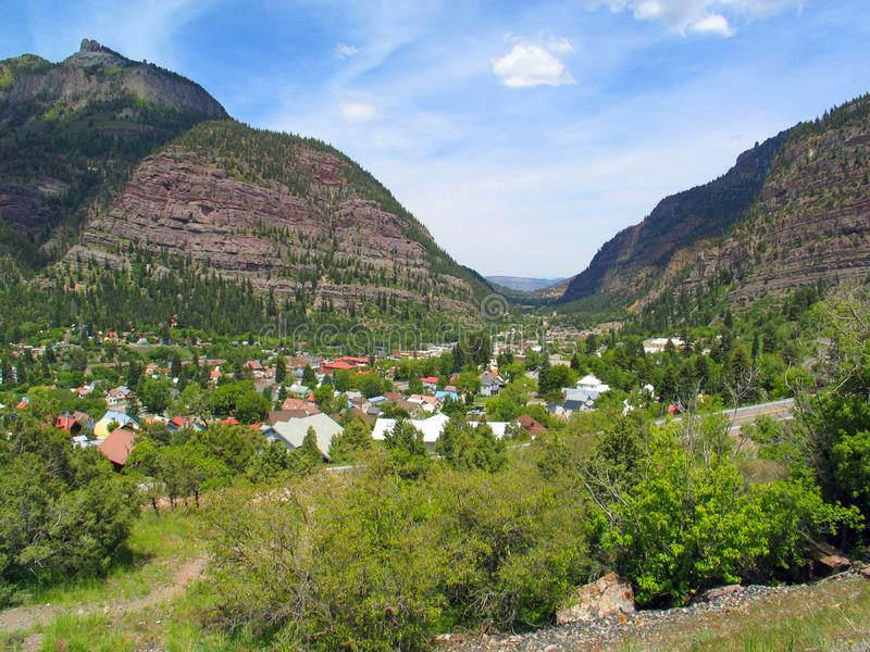 Ouray, Colorado looking north from Highway 550 stock photography