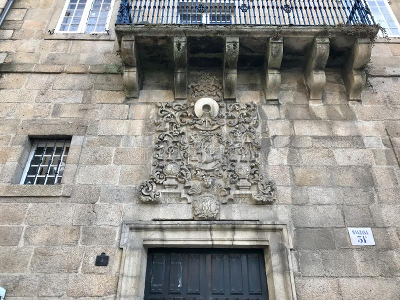 Ourense, Ourense / Spain - August 20 2018: Street level view of some buildings on the city center of Ourense in Galicia Spain royalty free stock photo