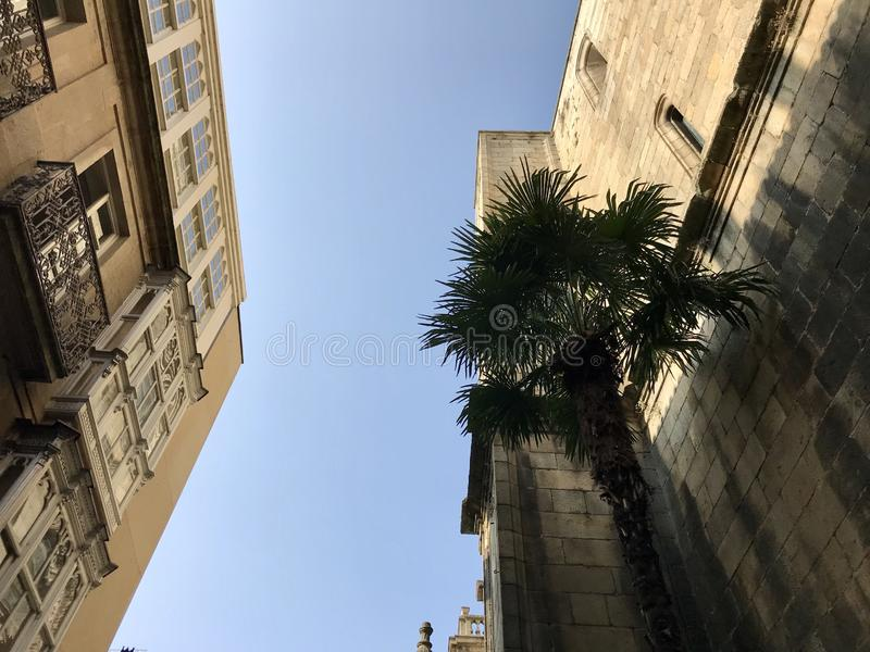 Ourense, Ourense / Spain - August 20 2018: Street level view of some buildings on the city center of Ourense in Galicia Spain royalty free stock photography