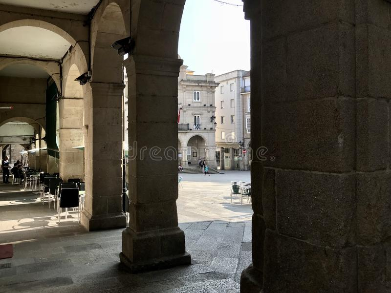 Ourense, Ourense / Spain - August 20 2018: View of the Praza Maior town square of the city of Ourense in Galicia during a sunny stock images