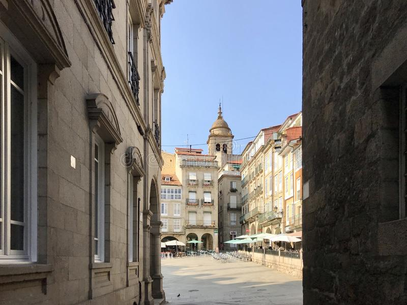 Ourense, Ourense / Spain - August 20 2018: View of the Praza Maior town square of the city of Ourense in Galicia during a sunny stock photo
