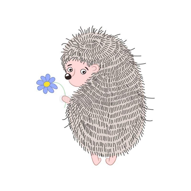 Ouriço bonito dos desenhos animados com uma flor azul ilustração royalty free