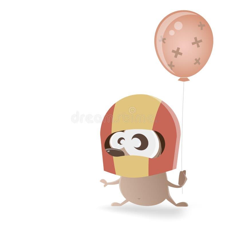 Ouriço com capacete e o balão fixo ilustração royalty free