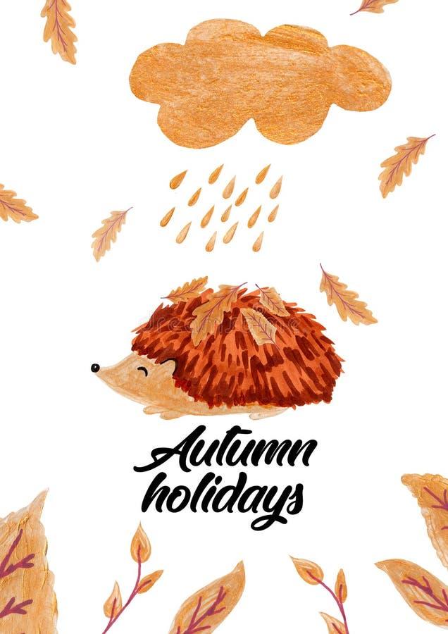 Ouriço com folhas do ouro, cartão dos desenhos animados do outono fotografia de stock royalty free