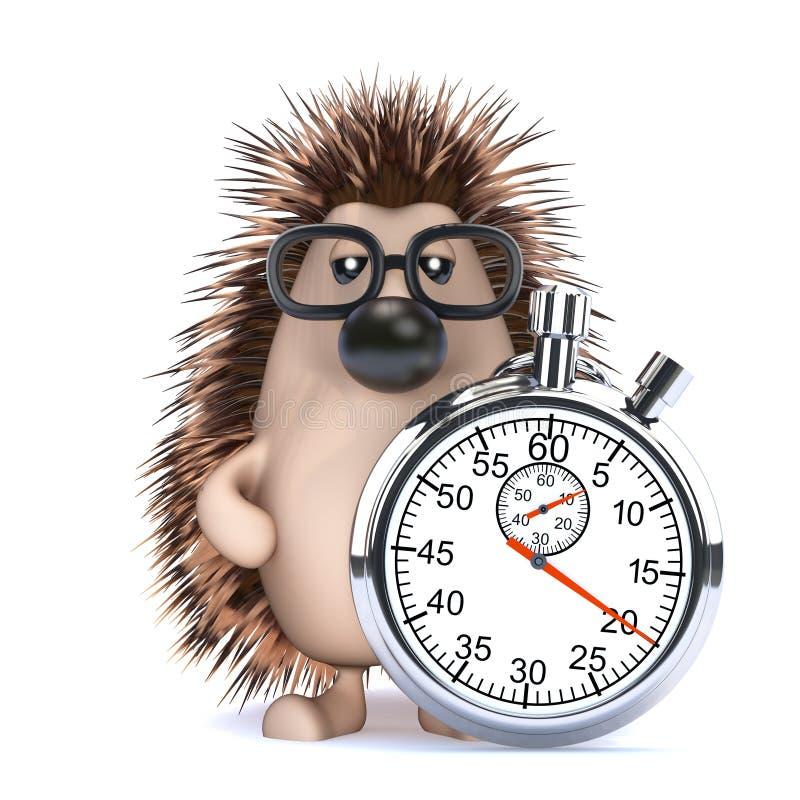 ouriço 3d com um cronômetro ilustração stock
