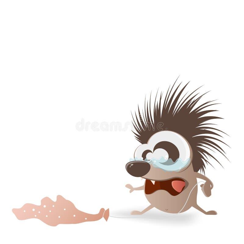 Ouriço triste com furos no balão ilustração stock