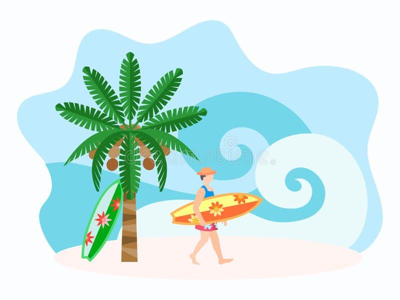 Ourist avec une planche de surf illustration de vecteur
