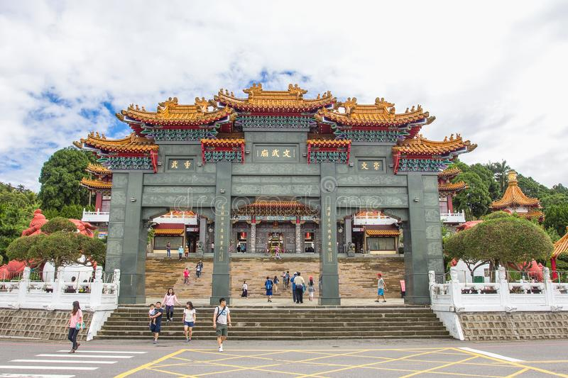 Ourist visited the beautiful of Sun Moon Lake Wen Wu Temple nearby Sun Moon Lake in Yuchi Township, Nantou County, Taiwan. stock photos