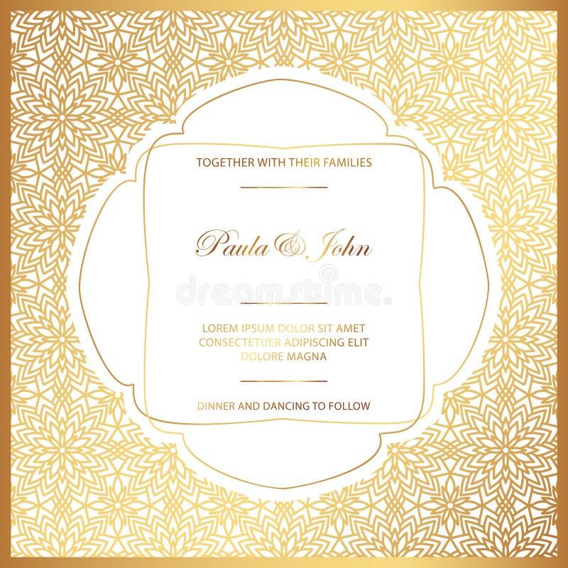 Ouro à moda e cartão de casamento branco Casamento real Invit do vintage ilustração stock