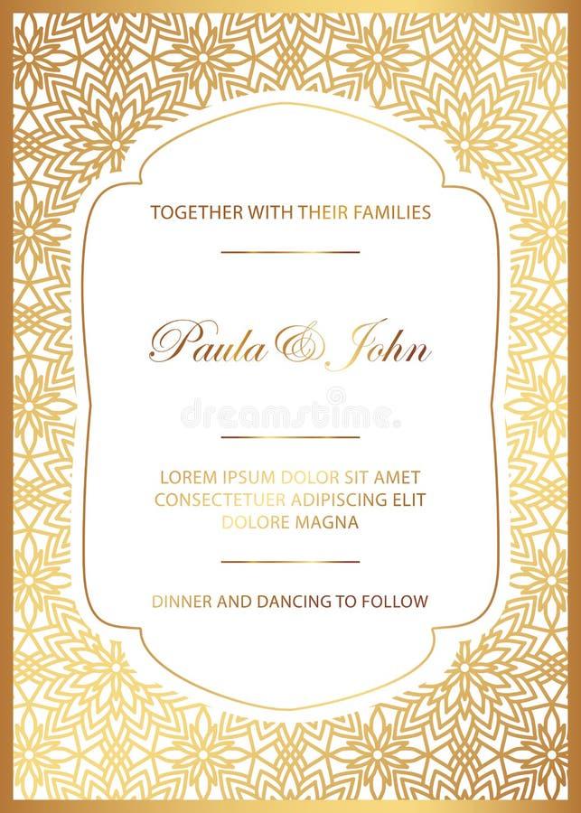 Ouro à moda e cartão de casamento branco Casamento real Invit do vintage ilustração royalty free