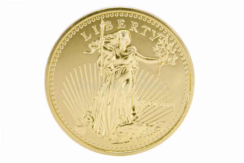 ouro 1oz contínuo moeda de 50 dólares - EUA fotografia de stock royalty free