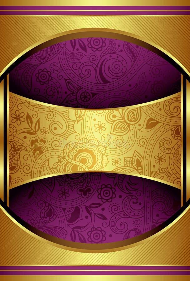 Ouro abstrato e fundo roxo ilustração do vetor
