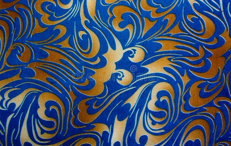 Ouro abstrato e textura sem emenda floral azul imagens de stock royalty free