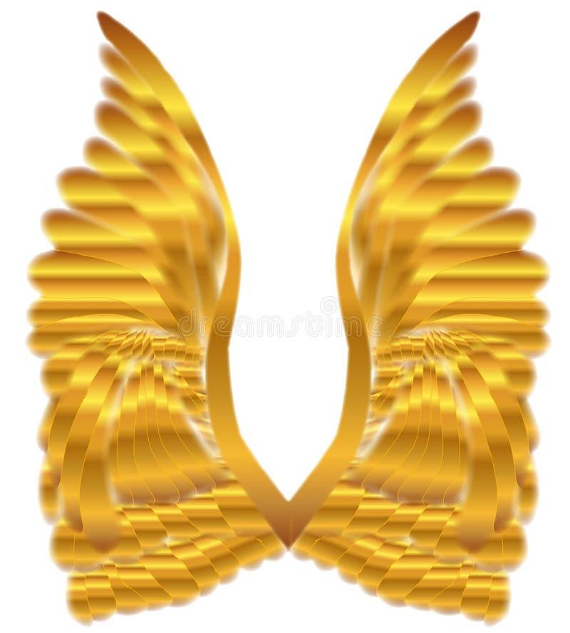 Ouro Angel Wings Over White ilustração do vetor