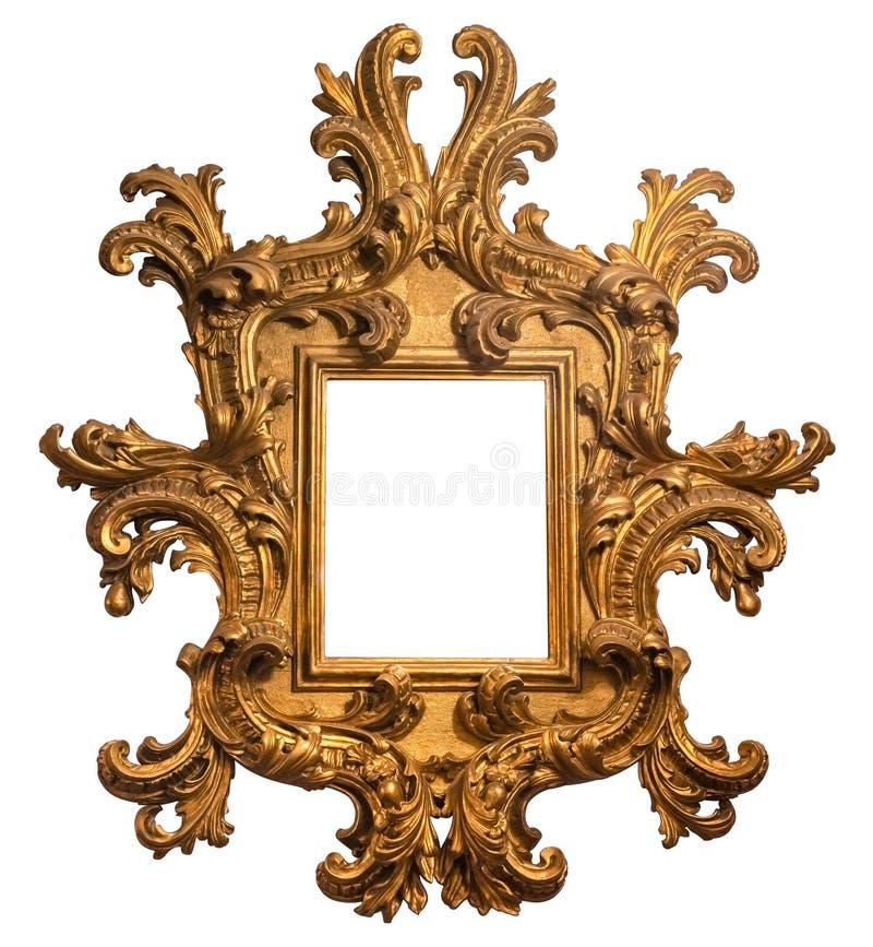 Ouro barroco moldura para retrato de madeira chapeada com trajeto fotos de stock