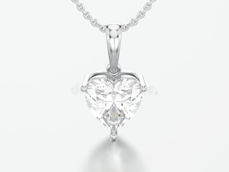 ouro branco da ilustração 3D ou colar de diamante grande de prata do coração ilustração royalty free