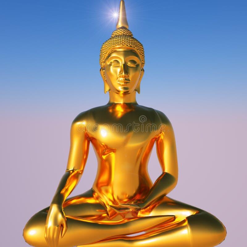 Ouro Buddha ilustração royalty free