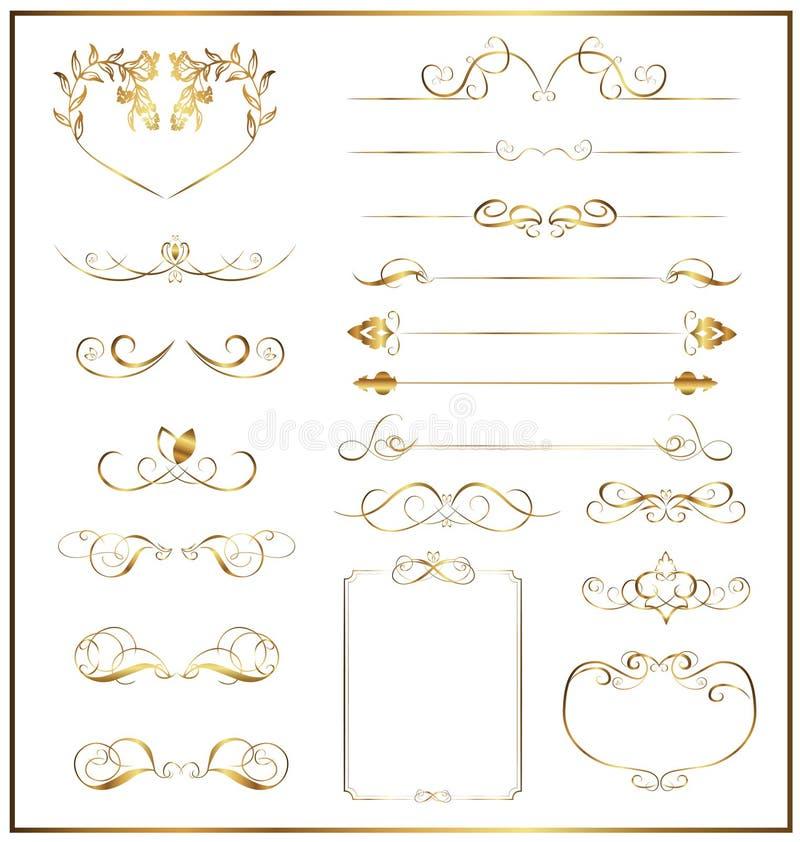 Ouro caligráfico ajustado imagens de stock