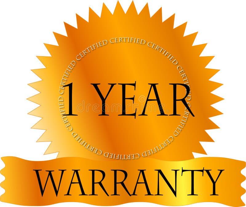 Ouro Certicate garantia de 1 ano ilustração do vetor