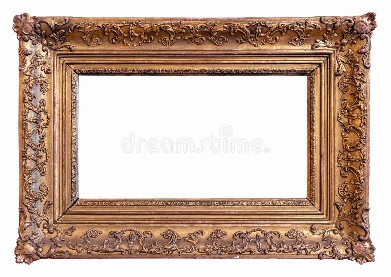 Ouro clássico moldura para retrato chapeada com trajeto fotografia de stock