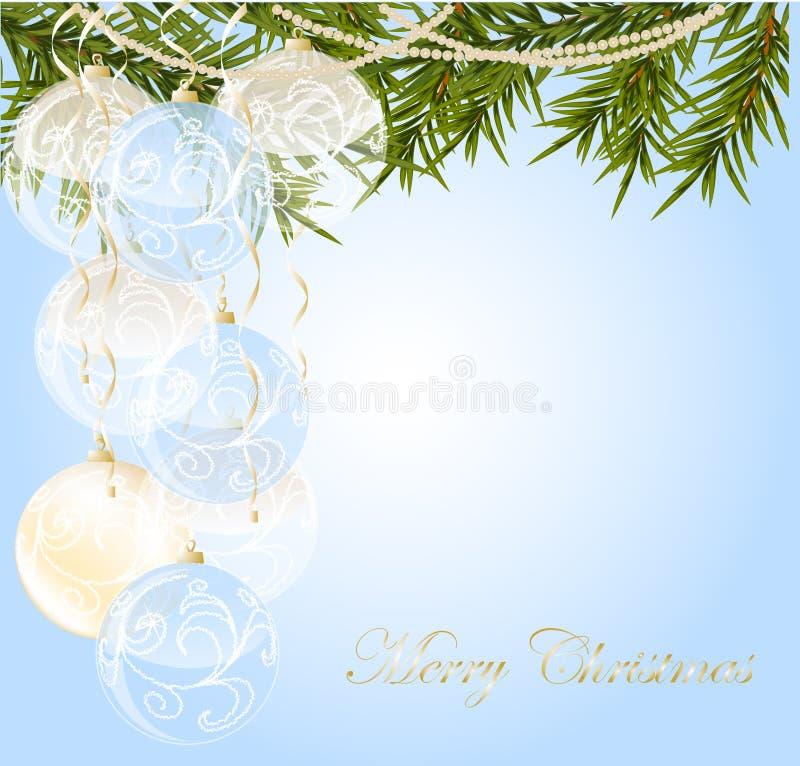 Ouro, com a esfera transparente azul do Natal do fim imagem de stock