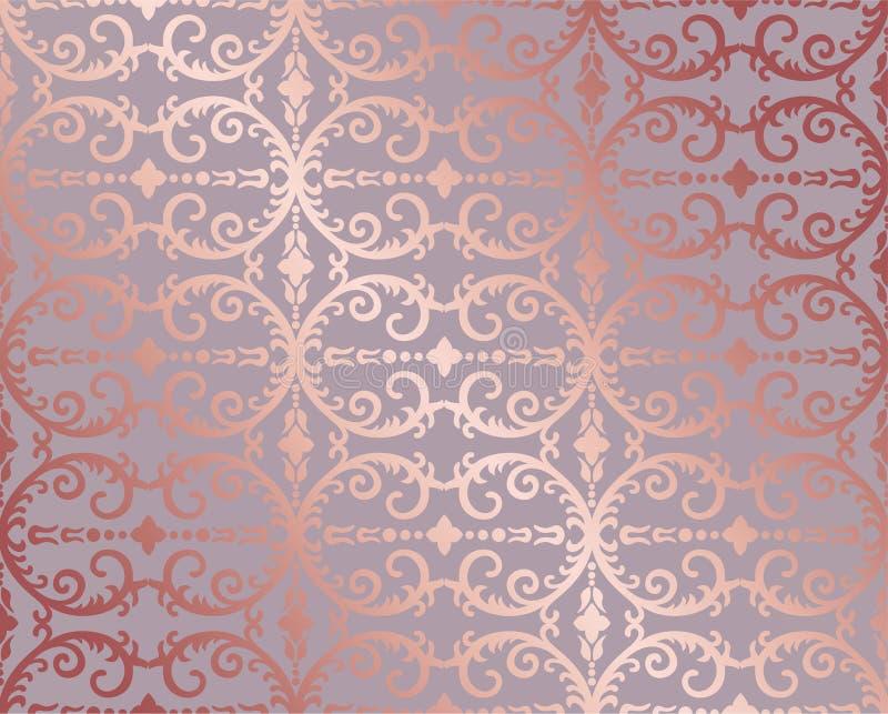 Ouro cor-de-rosa sem emenda floral e papel de parede da folha ilustração do vetor