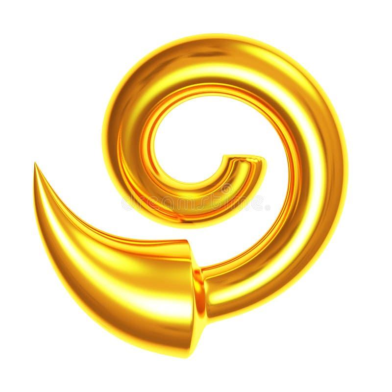 Ouro 3d metálico da seta ilustração royalty free