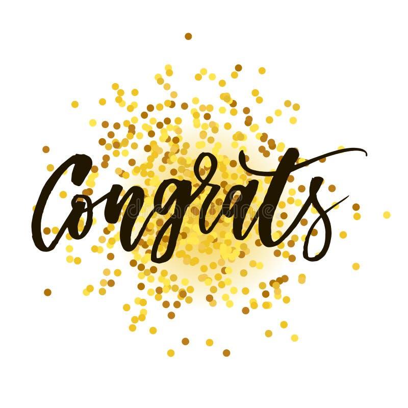 Ouro da escova da caligrafia da rotulação da frase do vetor de Congrats ilustração stock