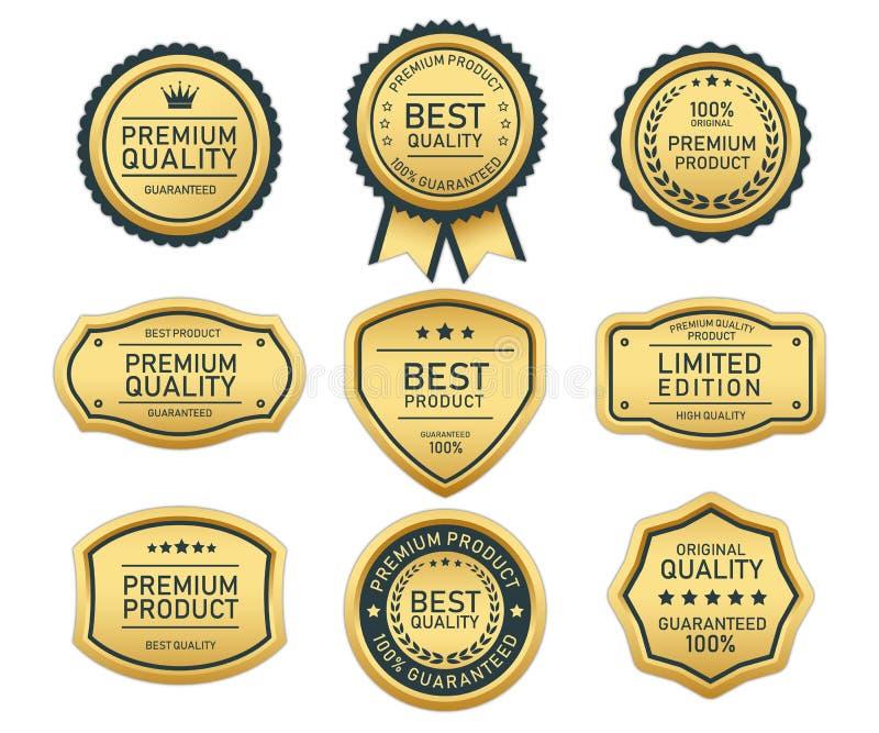 Ouro da etiqueta da qualidade superior no fundo branco ilustração stock