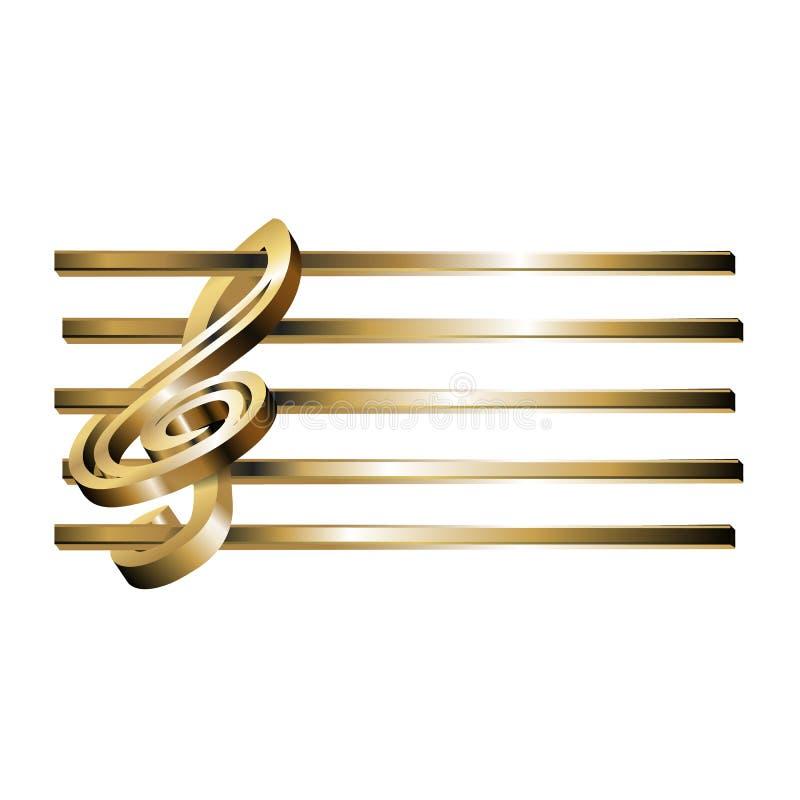 Ouro da pauta musical 3D da clave de sol ilustração do vetor