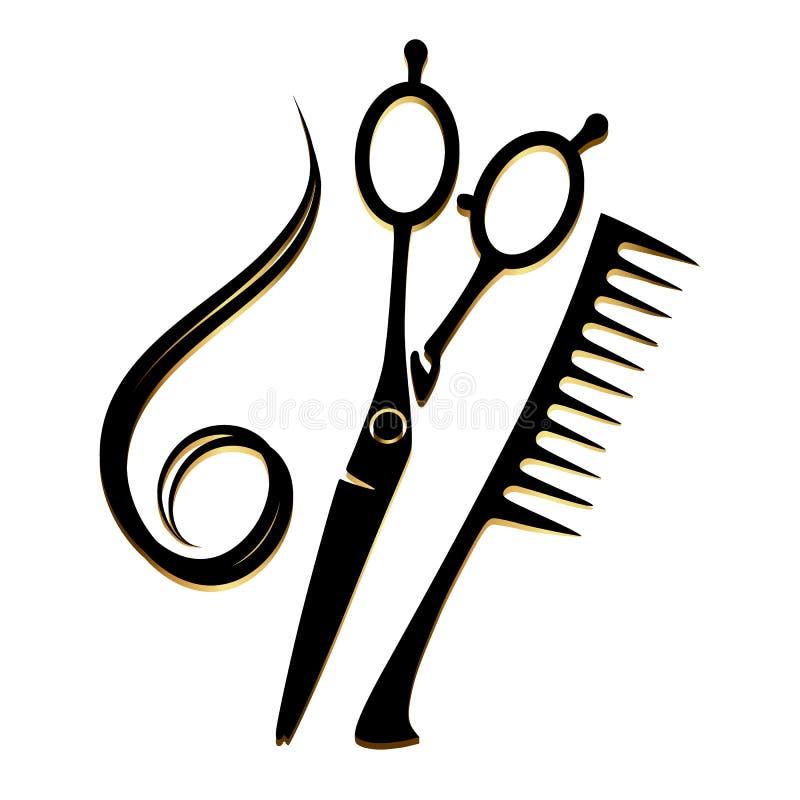 Ouro das ferramentas do cabeleireiro ilustração do vetor