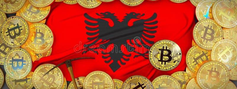 Ouro de Bitcoins em torno da bandeira de Albânia e picareta à esquerda 3d IL ilustração stock