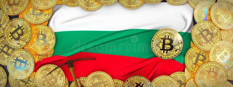 Ouro de Bitcoins em torno da bandeira de Bulgária e picareta à esquerda 3D mim ilustração stock