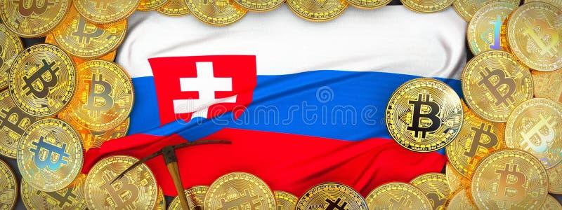 Ouro de Bitcoins em torno da bandeira de Eslováquia e picareta à esquerda 3D mim ilustração do vetor