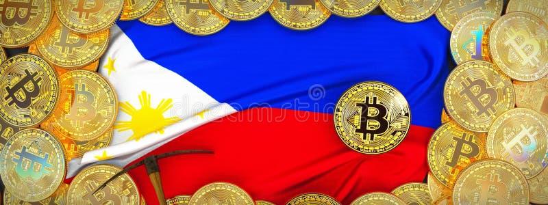 Ouro de Bitcoins em torno da bandeira de Filipinas e picareta à esquerda 3 ilustração do vetor