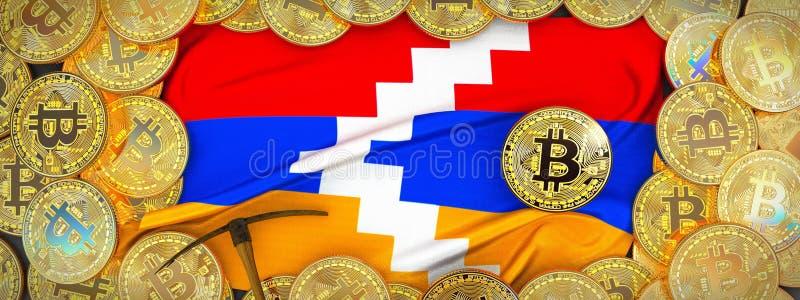 Ouro de Bitcoins em torno da bandeira de Nagorno Karabakh e picareta no l ilustração do vetor