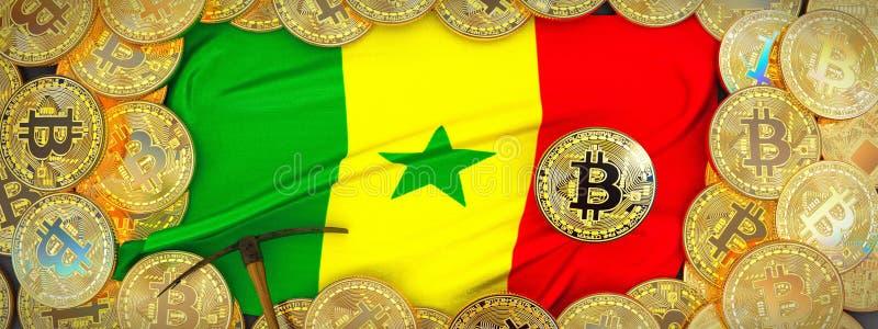 Ouro de Bitcoins em torno da bandeira de Senegal e picareta à esquerda 3d IL ilustração royalty free