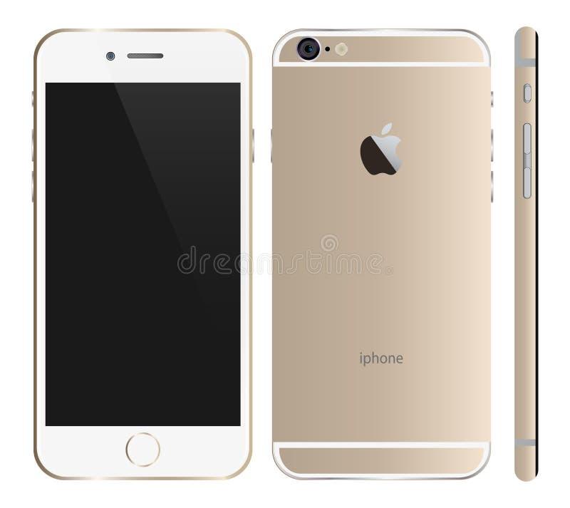 Ouro de Iphone 6 ilustração do vetor