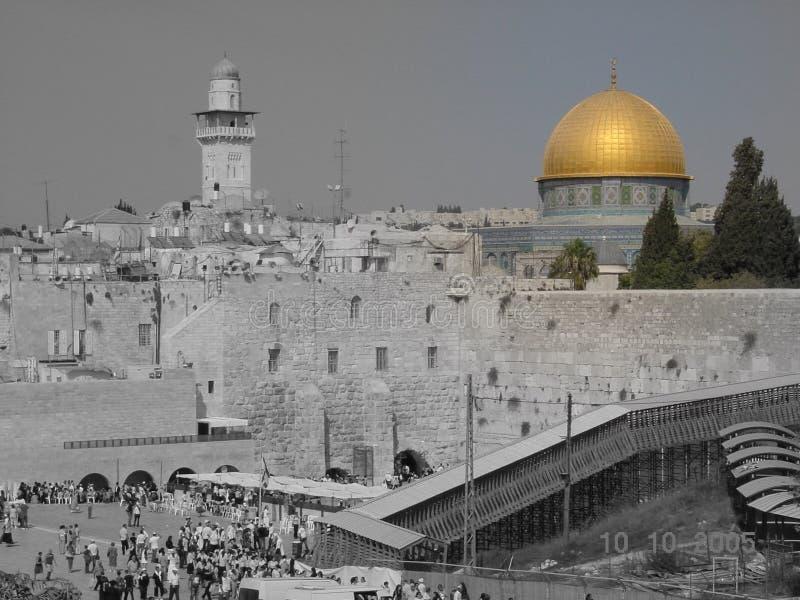 Ouro de Jerusalem e preto e branco imagens de stock